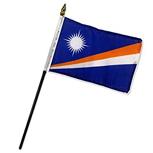 """Moon Escritorio mesa de bandera de Islas Marshall 4""""x6 Stick Premium colores vivos y ultravioleta resistente a la decoloración mejor jardín Outdor lona encabezado y poliéster MATERIAL bandera"""