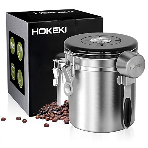 Airtight Coffee Canister, HOKEKI Stainless Steel Container for the Kitchen, Coffee Ground Vault Jar With One Way Co2 Valve And Scoop, Tea Coffee Sugar, Extra Coffee Spoon, 16 oz (Storage Airtight Coffee)