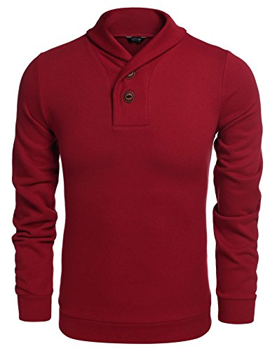 (COOFANDY Men's Fashion Shawl Collar Pullover Casual Long Sleeve Knitted Sweater)