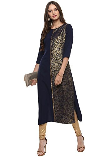 Janasya Indian Tunic Tops Crepe Kurti for Women (JNE2037-KR-182-XL) (Kurta Tunic Dress Top)