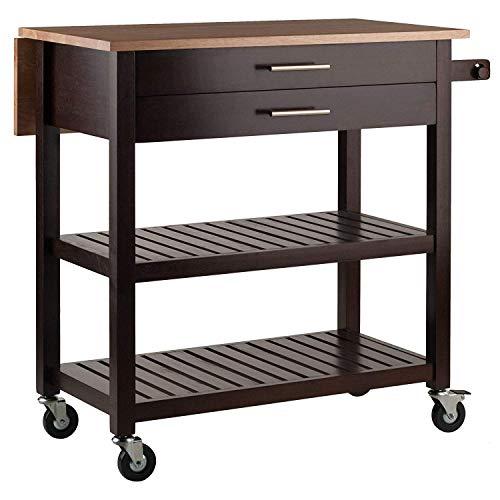 Kitchen Cart Drop Leaf Top Home Bar Rack Towel Holder 2 Drawer Display Shelves Storage Lockable Wheels Rolling Utility Shelf Furniture Table