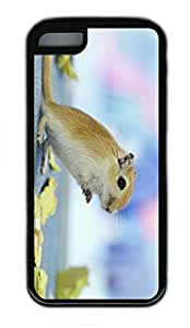iPhone 5C Case, Personalized Protective Rubber Soft TPU Black Edge Case for iphone 5C - Stand Hamster Cover