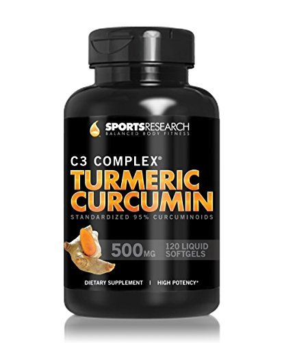 Sport recherche curcuma curcumine complexe C3 500 Mg avec 95% Curcuminoïdes et Bioperin (poivre noir), 120 comte