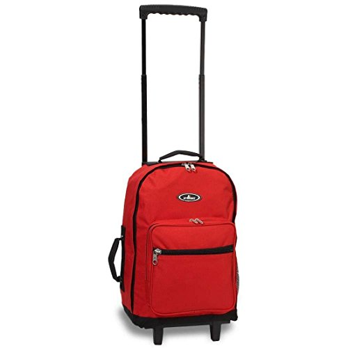Bagiva Small Wheeled Everest Bag Backpack Most Durable Handy Travel School Casual Bags Hiking Camping Cycling Pack (Red,Small) (Small Wheeled Backpack)