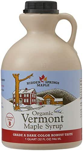 Hidden Springs Organic Vermont Maple Syrup, Grade A Dark Robust (Formerly Grade B), 32 Ounce, 1 Quart, Family Farms, BPA-free Jug