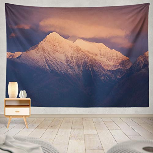 - ASOCO Tapestry Wall Handing Mountains in Montana Rocky Mountain Glow Snow Capped Mountain Peak Summit Wall Tapestry for Bedroom Living Room Tablecloth Dorm 50X60 Inches