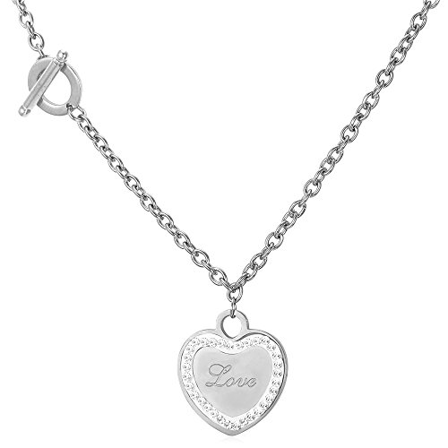 U7 I Love You to The Moon and Back Jewelry 18K Gold/Platinum Plated Delicate Italian Gold Plated Box Chain Heart Pendant Necklace Grandma's Gift (C Stainless Love Heart)