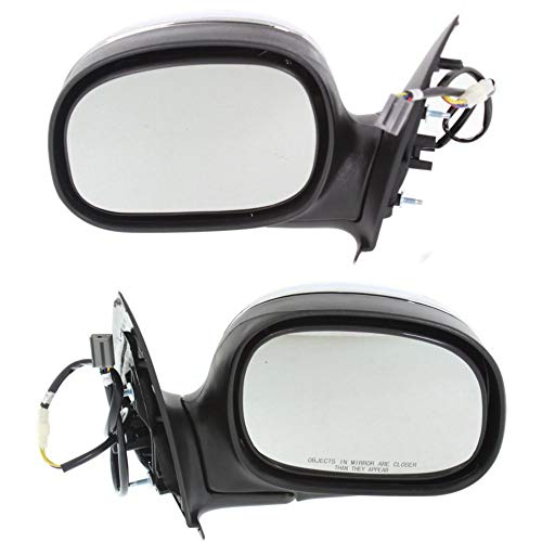 Power Mirror compatible with Ford F-Series 97-04 Right and Left Side Manual Folding Non-Heated Regular/Supercab Only Chrome ()