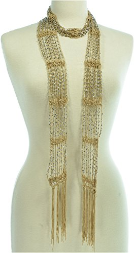 (Hand By Hand Aprileo Women's Scarf Seed Bead Long Thin Lightweight Belt Wrap [Gold](One)