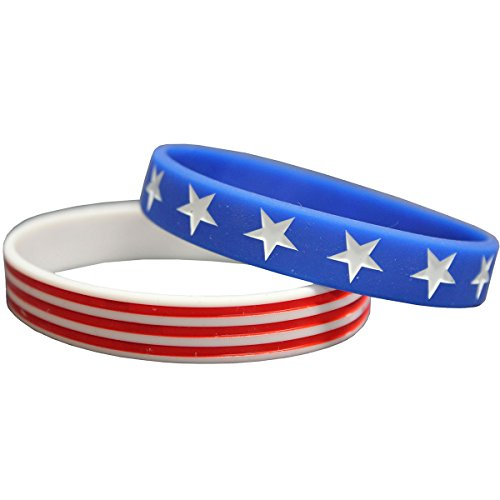 American Flag Patriotic Leggings and Bracelet Bundle