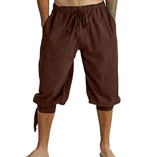 Seaintheson Men's Casual Pants,Medieval Shorts Costume Viking Loose Trousers Knee-Length Plus Size Beach Surfing Pants Brown -