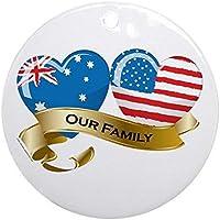 Cheyan Xmas Tree Decorations Australia/USA Flag_Our Family Round Ornament Funny Home Decor - 3 inch
