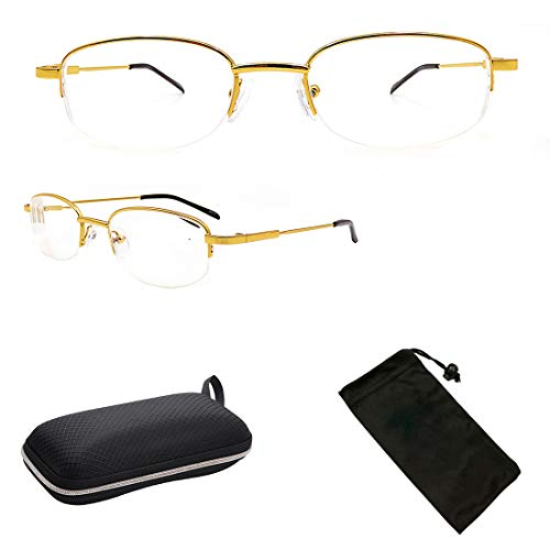 Nearsighted Myopia Driving Glasses for Men Women Clear Vision Comfort Fit + Free Hard Case for Storage (-1.00 to -6.00) (Gold, 2.5) 00 Gold Demo Lens