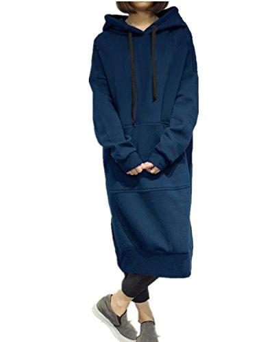 StyleDome Donna Felpe Con Cappuccio Autunno Invernale Tasca Pullover Casual Elegante Sportiva Moda Manica Lunga Blu