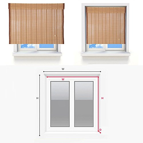 ZEMIN Blinds Shades Bamboo Roller Blind Inside/Outside Install Customizable Office Hotel Cut Off Hand-lifting, 2 Colors, 22 Sizes (Color : #1, Size : 50x120CM) by ZEMIN-zhulian (Image #5)