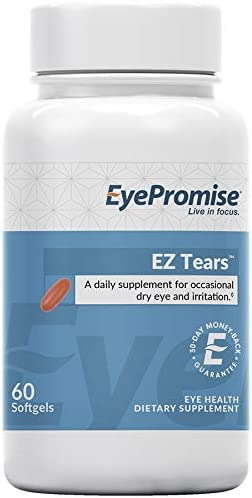 EyePromise EZ Tears Eye Vitamin Occasional Dry Eye Relief Supplement – Omega-3s and 8 Other Soothing Ingredients