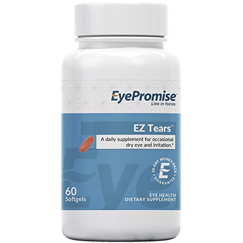 EyePromise EZ Tears Eye Vitamin - Occasional Dry Eye Relief Supplement - Omega-3s and 8 Other Soothing Ingredients ()