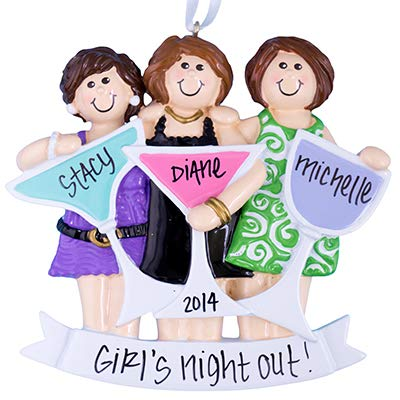 Party Girls (3) Night Out Personalized Ornament - (Unique Christmas Tree Ornament - Classic Decor for A Holiday Party - Custom Decorations for Family Kids Baby Military Sports Or Pets) ()