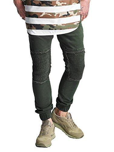 2Y Vaqueros Hombres Ajustado Jeans Denim Oliva Jogger 8fZq8wH