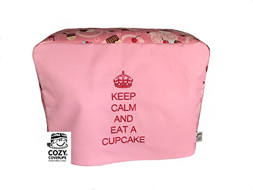 CozyCoverUp for Kenwood Prospero KEEP CALM EAT A CUPCAKE Embroidered Pink Cupcakes Pattern 100% -