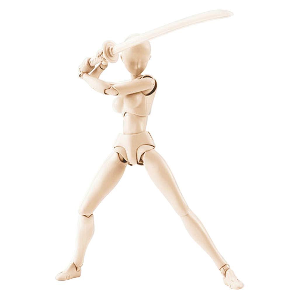 Wuayi Actionfigur Modellpuppen Manikins Mannequin Mann und Frau Kits mit Zubehör Kit, perfekt zum Zeichnen, Skizzieren, Malen, Künstler, Cartoon Figuren Action 13-15 cm Q: (Male and female kit)