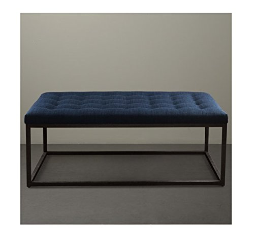 Amazon Renate Navy Upholstered Contemporary Linen Coffee Table Ottoman Kitchen Dining