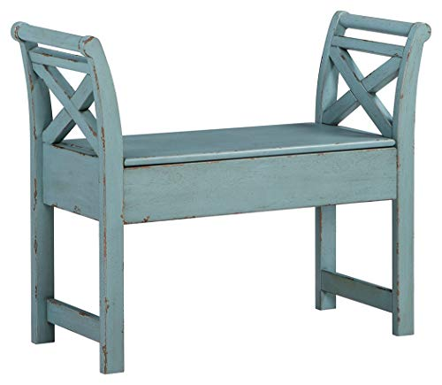 Signature Design by Ashley - Heron Ridge Storage Accent Bench - Antique Blue Finish - Hinged Seat