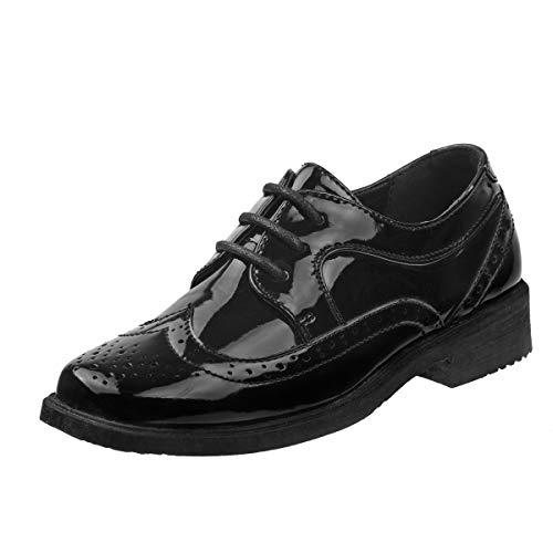 Josmo Boys Wingtip Oxford Lace Dress Shoes (Toddler, Little Kid, Big Kid) (1 M US Little Kid, Black Patent)