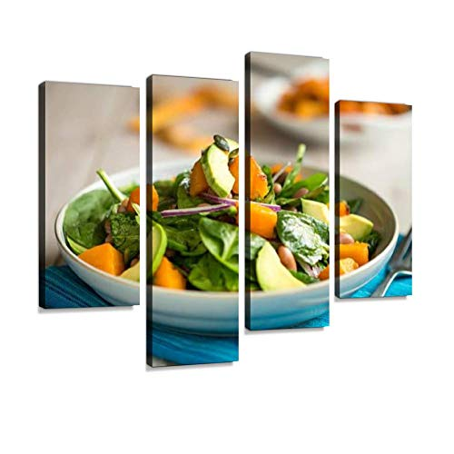 Roasted Pumpkin Salad Canvas Wall Art Hanging Paintings Modern Artwork Abstract Picture Prints Home Decoration Gift Unique Designed Framed 4 Panel