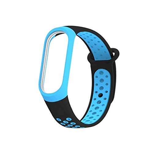 Colorful Silicone Wrist Strap Watch Band for Xiaomi Mi Band 3 & 4 Premium Quality (Color : Black Blue) by GuiPing