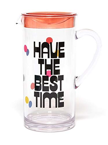 ban.do Party On Water Carafe with Handle, 57 Ounce Plastic Pitcher, have the best time -