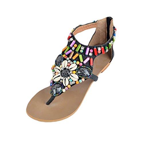 NiSeng Mujer Sandalias Planas Bohemia De Zapatos Con Cremallera Sandalias De Playa Clip Toe Verano Roman T-Correa Sandals Negro