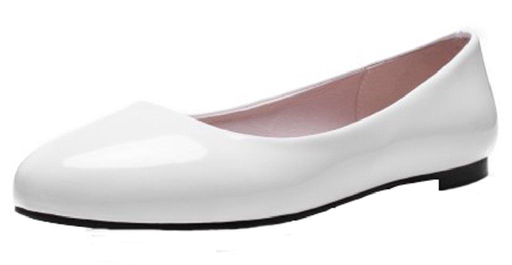 Summerwhisper Women's Simple Round Toe Low-cut Wide Width Slip-on Flats Pumps Shoes White 7.5 B(M) US