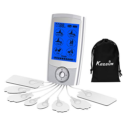 KEDSUM Rechargeable 16 Modes Tens Unit with 8 Pads, Pain Relief Machine Electric Pulse Impulse Mini Massager Muscle Stimulator with 2 Dual Electrode Wires and a 4-1 Electrode Wire