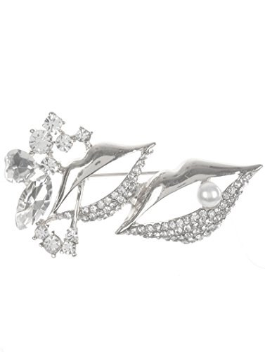 Fashion Jewelry ~ Rhinestone Crystal Brooches Pin (Lips Silvertone)