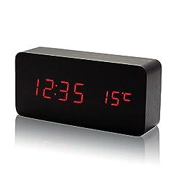 Electronic Alarm Clocks, PeleusTech® Mini Rectangle Wooden Double Screen Red LED Table Clock Sound Activated Digital Alarm Clock - Black
