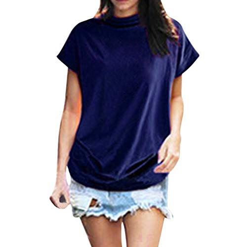 (New in Summer Haalife◕‿Women Turtleneck Short Sleeve Top Fashion Irregular Blouse T Shirt Casual Oversize Tunic Tops Blue )