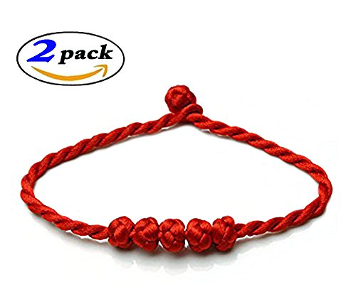 Heart Wedding Sampler (Chinese Feng Shui Lucky Rope Strap Lucky red rope beads (2PCS, Red))