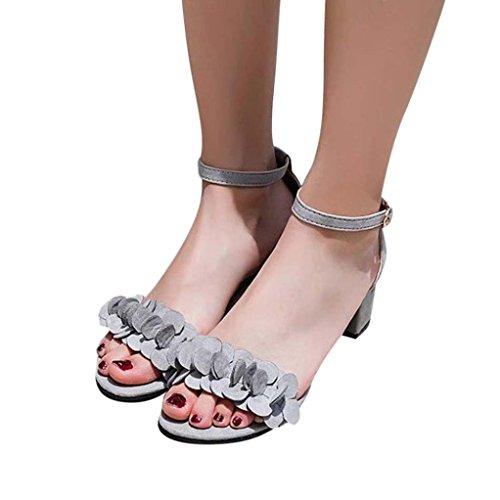 TOOPOOT 2018 New Women's High Heel Sandals,Lady Flowers Adorn Buckle High Heels Shoes (US:6.5, Gray)