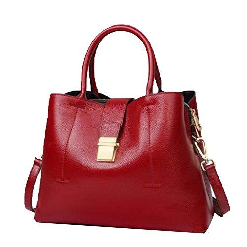 PASAJ Mujer Bolsos Del Cuero Genuino Del Diseño Del Bolsillo Bolsas De Hombro Elegante De Las Señoras Multi-funcionales Red