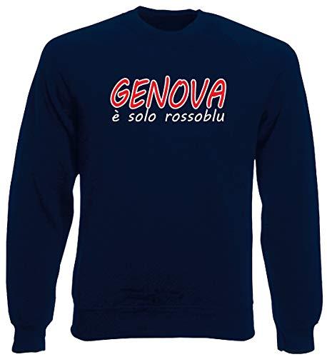 Speed Girocollo Ultras Shirt Navy Blu Rossoblu Uomo E Calcio Genoa T0907 Felpa Solo Genova Eqnr1OExX