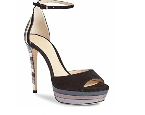 Peep sandales Scarpin décontractées habillées ultra fête Des Sangles couleurs Chaussures Toe de Pompe Femmes Gra Suède Élégant de Chaussures Chaussures hauts D'orsay Talons Match cheville Black de Rayé 12CM Hwn5FO