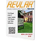 REVLAR(TM) Waterproof Laser Label Printer Paper 2mil clear Gloss polyester Face with Film liner & low tack adhesive