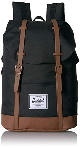 Herschel Retreat Backpack, Black|Saddle Brown, One Size