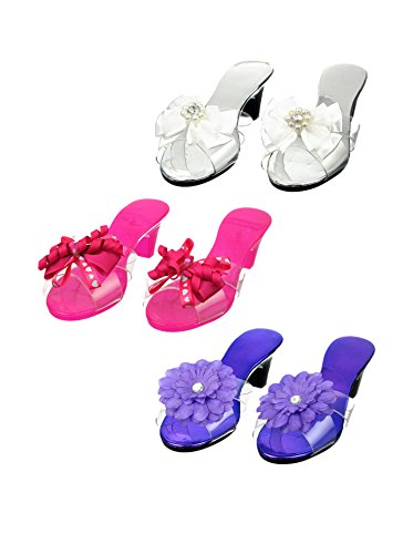 Dress Up Princess Shoe Set- Bright Ribbon and Flower Play Time Costume Shoes - 3 Pairs (Disney Princess Dress Up Shoes)
