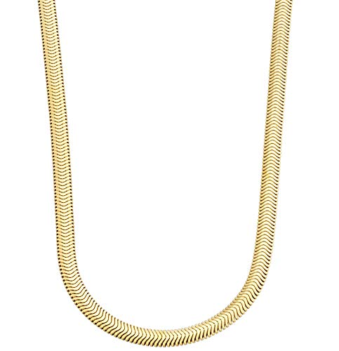 MiaBella 18K Gold Over Sterling Silver Italian 4mm Solid Diamond-Cut Snake Herringbone Chain Link Necklace for Women Men 16, 18, 20, 22, 24 Inch Made in Italy (24)