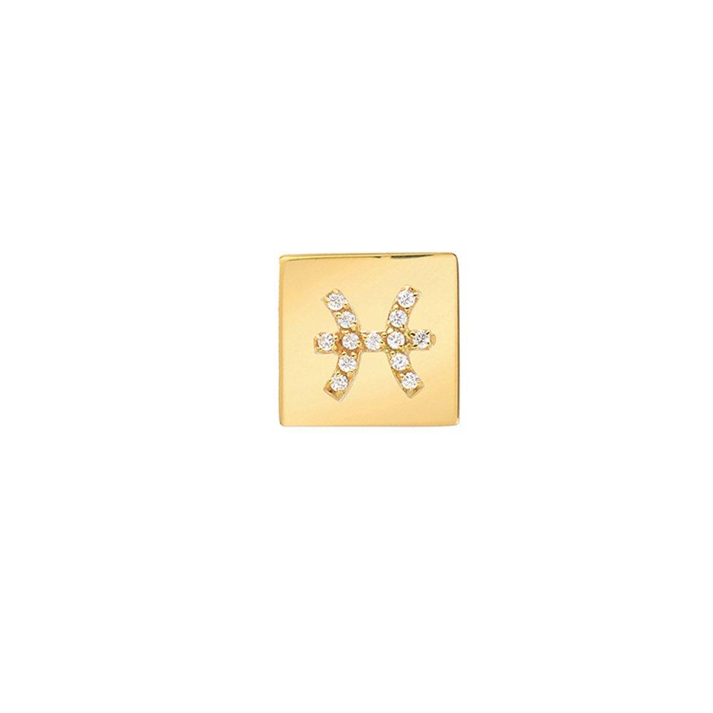 14k Fine Gold Modern Look Diamond Accented Square Frame Pisces Earring Mini Mini Jewels E4G11047XX1