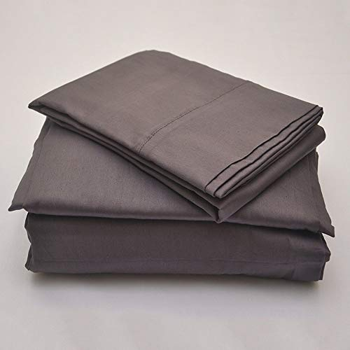 Sam Stores Luxurious 100% Egyptian Cotton 600TC Cal-King Size Attached Waterbed Sheet Set Solid Elephant Grey