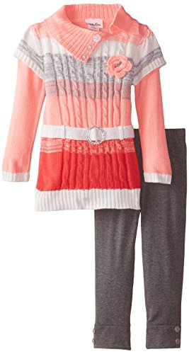 Belted Two Piece (Little Lass Little Girls' 2 Piece Sweater Set Belted Marled Cable, Coral, 4)