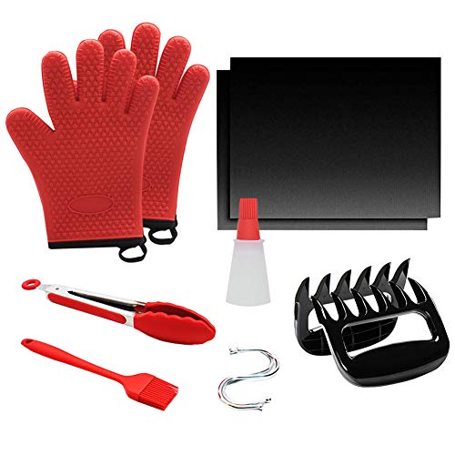 11PCS BBQ Tool Set, Non-Slip Silicone Cooking Gloves+ Meat Claws + Food Tongs + Basting Brush + Oil Bottle Brush + BBQ Mat + S-shaped Hooks, Premium BBQ Accessories for Indoor Outdoor Cooking